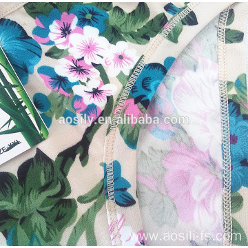 AS-558 OEM wholesale new simple style bamboo fiber fabrics printed flowers briefs panty