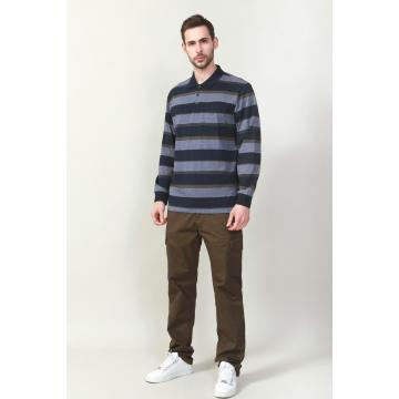 MEN'S YARN DYE STRIPE LONG SLEEVE POLO SHIRTS