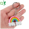 Lovely Design Silicone Keychain Rainbow Shape Custom Keyring