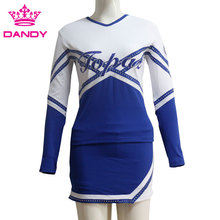 Egendefinerte Royal Blue Varsity Cheerleading Uniformer