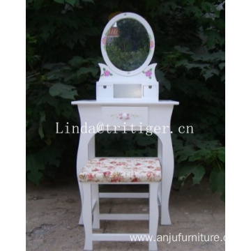 Makeup desk white dressing table vanity set with stool chair Polownia wooden dresser set