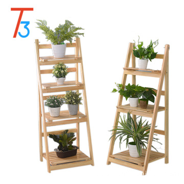 Tri-tiger floating shelves wooden flower rack