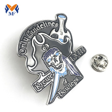 Souvenir silver color unique pin badge customized