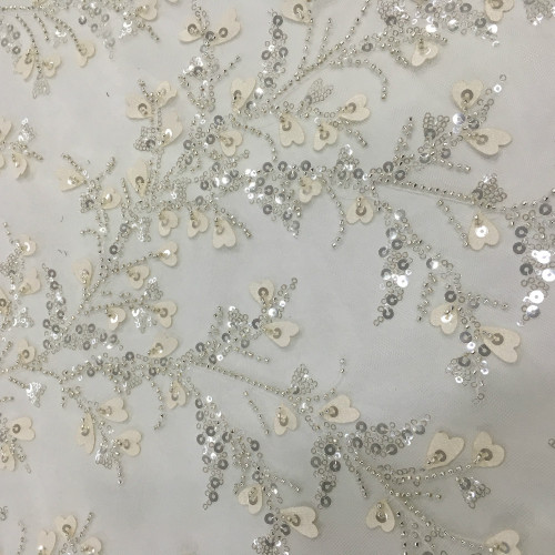 Bride Wedding Dress Sequins Embroidery Fabric