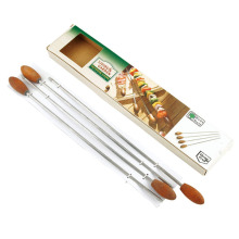 Best Quality for Metal Skewers Adorable 4pcs skewer set with wooden handle export to Spain Manufacturer