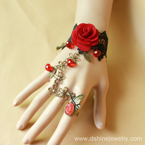 Retro Red Rose Lace Bracelet With Ring Vampire Sexy Jewelry