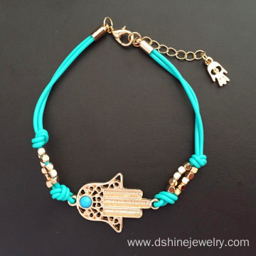 Gold Hamsa Evil Eye Diamond Necklace With Turquoise Beads