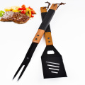 2PCs stainless steel bbq tools spatula and fork