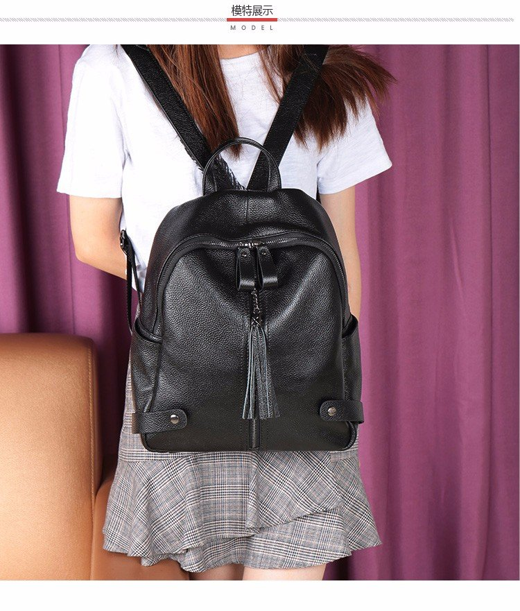 leather double shoulder bag