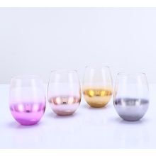 Electroplate Effect stemless wine drinking glass