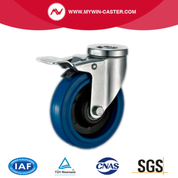 Braked Bolt Hole Swivel Elastic Rubber Caster