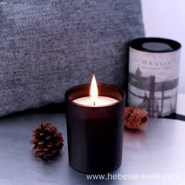 soy wax aroma candles in black holder