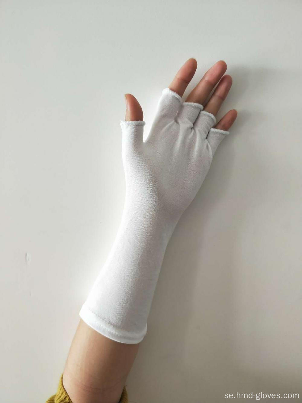 Vit Nylon Fingerless Long Wristed Handskar
