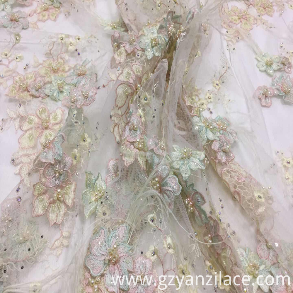 Sequin and Beaded Tulle Fabric