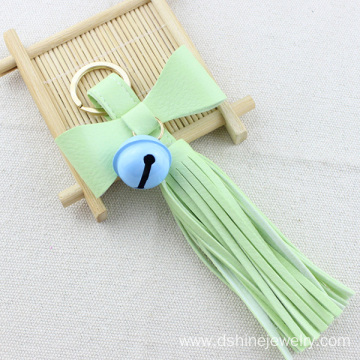 Tassel Keychain Leather For Bag Bowknot Bell Leather Keyring