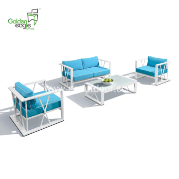 4pcs blue cushion and white aluminum garden sofa