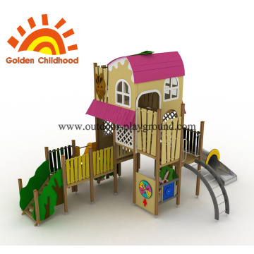 Pink Outdoor Playground Equipement Playhouse For Sale
