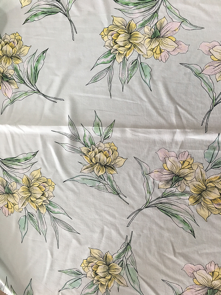 Flower Design Rayon Poplin shuttle Light Printing Fabric