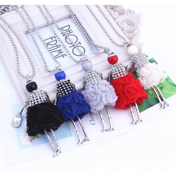 Good Quality for Handmade Alloy Rhinestone Necklaces Silver Cute Girl Chain Necklace Long Design Sweater Necklace export to Netherlands Factory