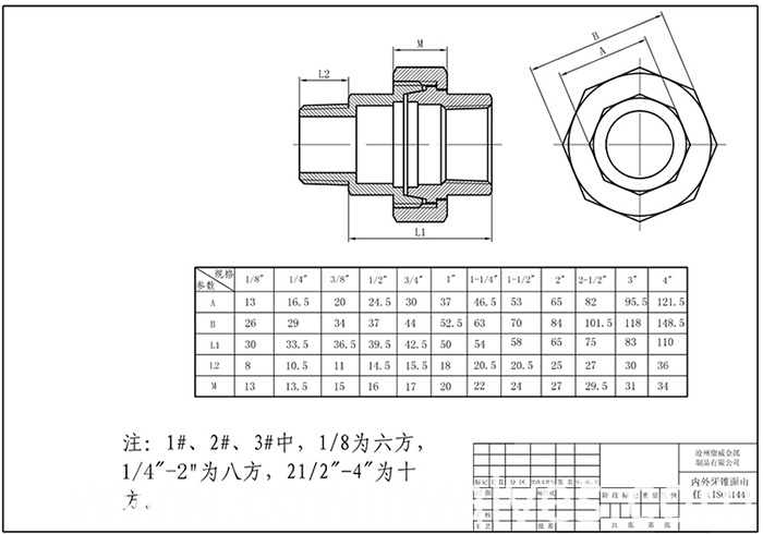 ss304/316 union pipe fitting