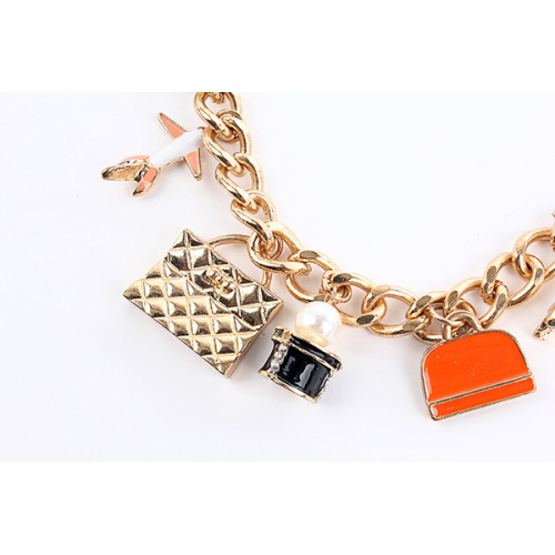 Gold Plated Chain Choker With Alloy Charm Pendant Necklace