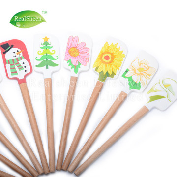 Christmas Pattern Silicone Spatula With Wooden Handle