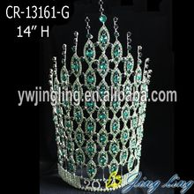 "China for China Angel Wing Shape Beauty Pageant Crowns and Tiaras, Glitz King Crowns. 14"" Green Rhinestone Tiaras India Wedding Crowns export to Kenya Factory"