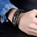 Wholesale black leather anchor bracelet for men