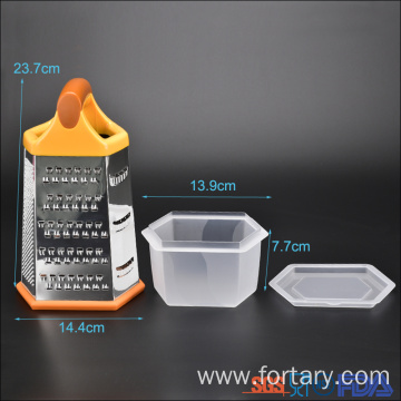 Kitchen Vegetable Stainless Steel Box Grater with Container
