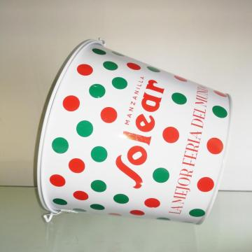 Double sided printing ice bucket with portable handle
