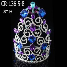 China for Christmas Party Hats Wholesale Rhinestone Big Color Pageant Crowns supply to France Metropolitan Factory