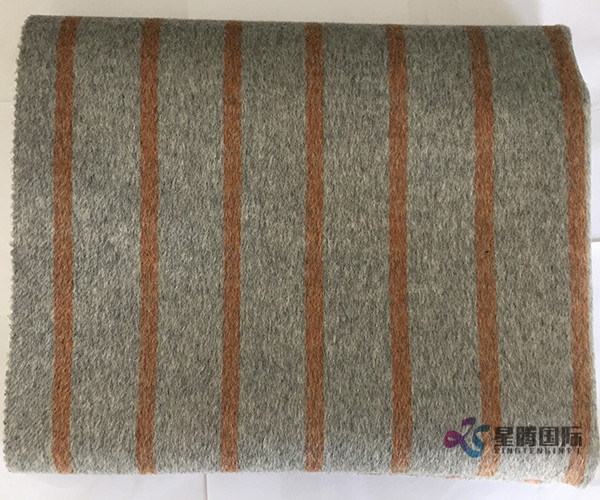 Brown Vertical Stripe 100% Wool Fabric