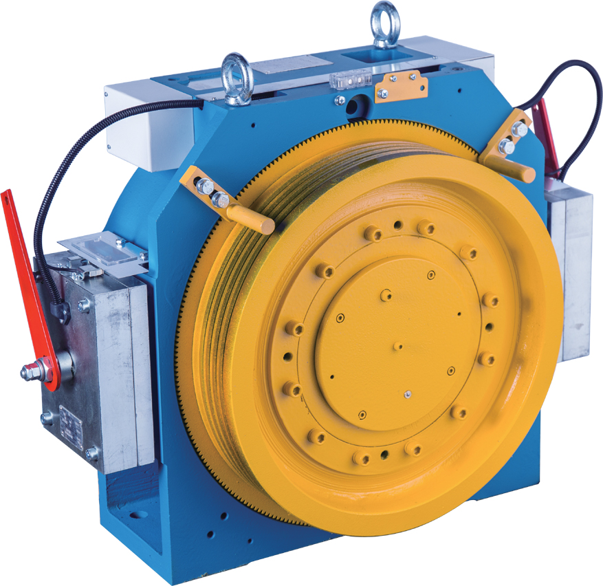 Gearless Elevator Traction Machine With Block Brake , MINI-4, 2:1 Ratio