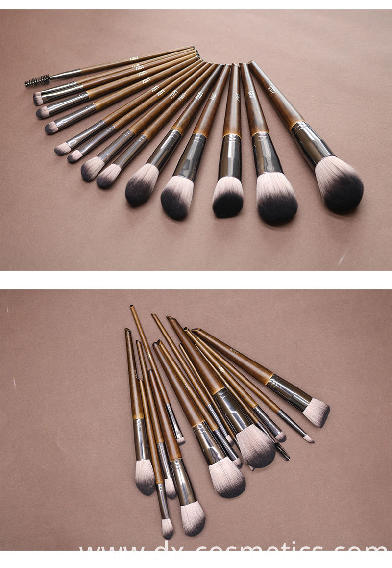 14Pcs Premium Solid Wood Makeup Brush Set