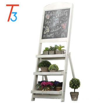 wooden flower stand chalkboard easel with 3 display shelves
