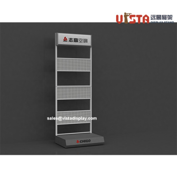 Mobile Perforated Sheet Display with Sign Holder