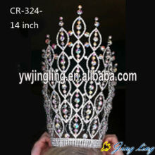 China for China Angel Wing Shape Beauty Pageant Crowns and Tiaras, Glitz King Crowns. 14 Inch AB Rhinestone Pageant Crown export to American Samoa Factory