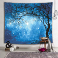 Galaxy Tapestry Wall Hanging Stars Blue Sky Wall Tapestry Tree Night Sky Wall Art for Bedroom Home Dorm Decor