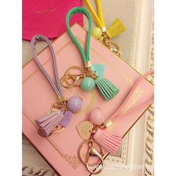 Handmade Leather Tassel Keychain With Candy Ball Charms