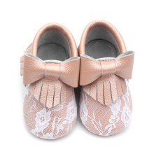 Soft Sole Lace Cute Baby Leather Moccasins Bowknot
