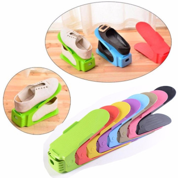 Portable Plastic Double Layer Nonslip Storage Shelf Shoe Slot Space Saver Shoe Rack Organizer Holder