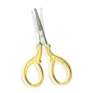 Wholesale beauty tools portable gold plated stainless steel curve profesional eyebrow scissors
