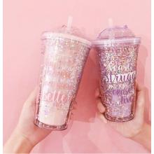 Colourful Stars Transparent Cup With Straw