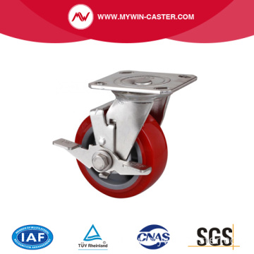 Stainless 5 Inch  Plate Brake TPU Caster