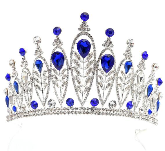 Alloy Big Stone Red Blue Green Pageant Crown