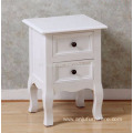 White Solid Wood British Style Tea Night Stand 2 Drawer Storage Organizer Cabinet Table