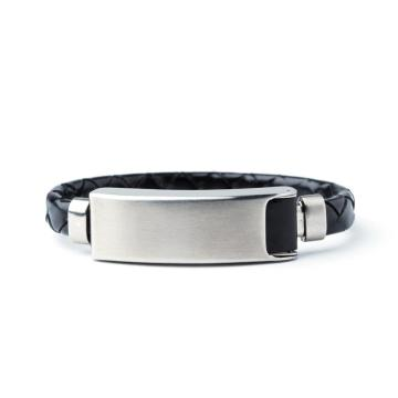 Fashion And Design Stainless Steel Men Genuine Leather Bracelet with Magnetic Clasp