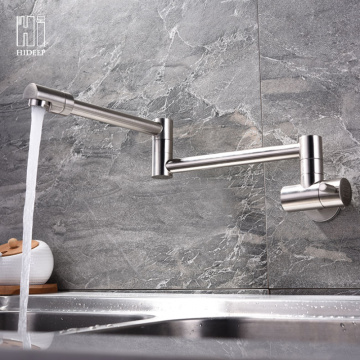 Wall Mount Stainless Steel Brushed Kitchen Faucet