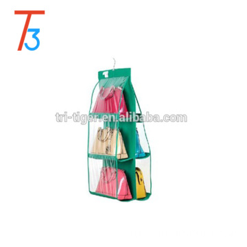 6 Shelf Bags Hanging Storage Hanger Purse Handbags plastic pocket hanging organizer