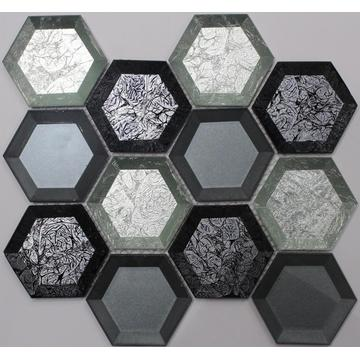 Color Mixed Crystal Glass Hexagon Mosaic